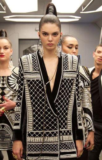 jacket balmain kendall jenner model blazer h&m pearl embroidered embellished embellished jacket