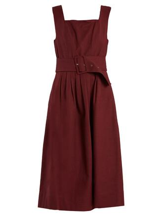 dress pleated sleeveless cotton burgundy