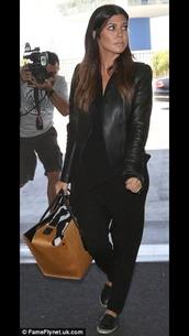 jacket,kourtney kardashian,black leather jacket,pants