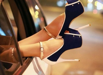 shoes navy blue high heels nude studs scarf blue shoes sailor style cute high heels navy and white pumps blue and white heels sailor pumps blue white black and white open toes platform high heels strappy sandals gold rose gold nude high heels