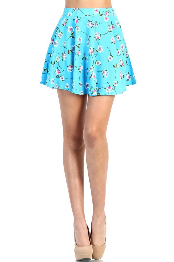 floral skater skirt light blue