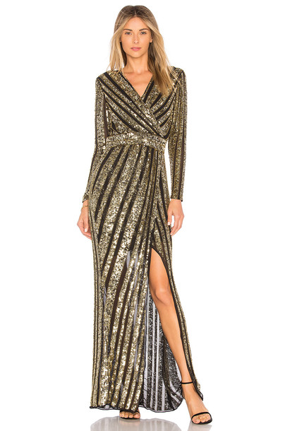 Parker Black gown embellished metallic gold dress