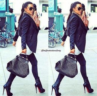 jacket kim kardashian shoes bag sunglasses