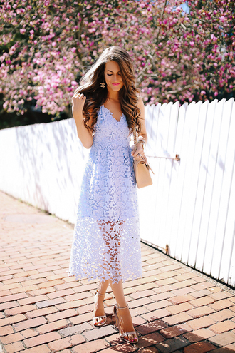 southern curls and pearls blogger dress bag shoes jewels make-up