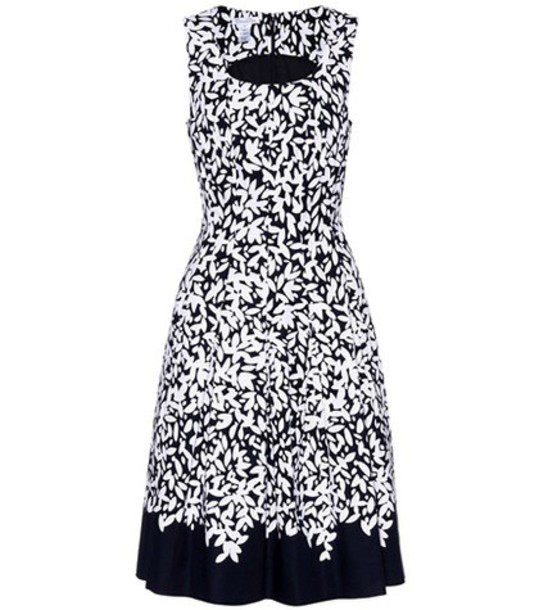 Oscar de la Renta Printed cotton dress in blue