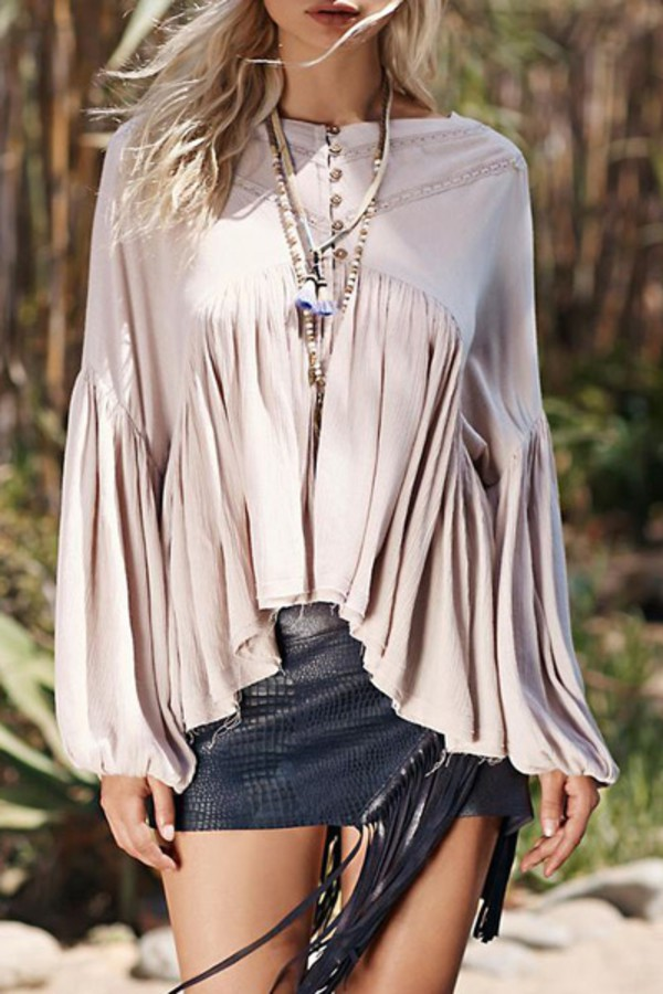 top, gypsy, beige, long sleeves, fashion, style, summer ...