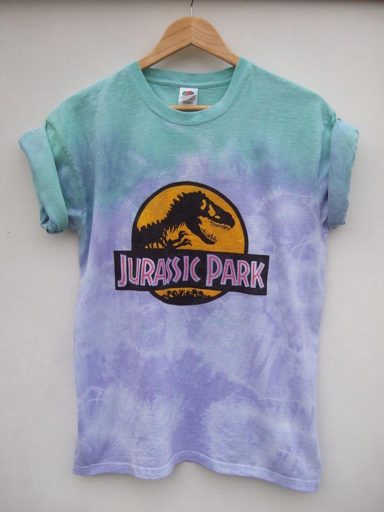 Dip Tie Dye Ombre Dinosaur 90s Grunge Hipster Festival Shirt Oversize - Size L