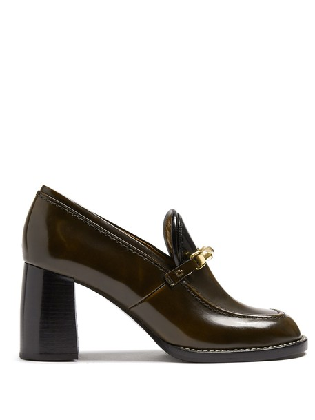 heel loafers leather dark brown shoes