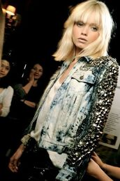 jacket,embellished denim,denim jacket,blue jacket,studded jacket,studs,studded,model,hairstyles,bangs,blonde hair