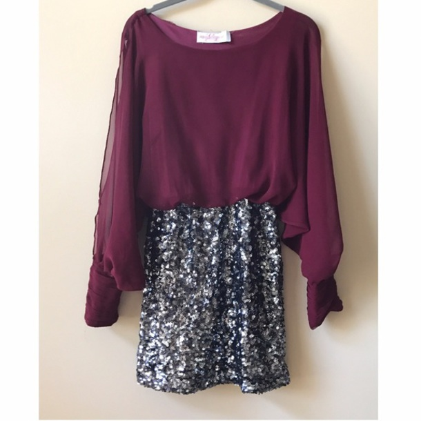 dress burgundy sheer sequin skirt sequin dress boutique