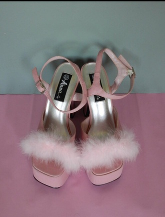 shoes heels sandals wedges feathers fur 90s style candy pink