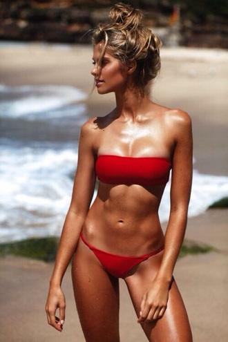 swimwear bikini red bikini top red bikini bikini bottoms bandeau swimsuit bandeau