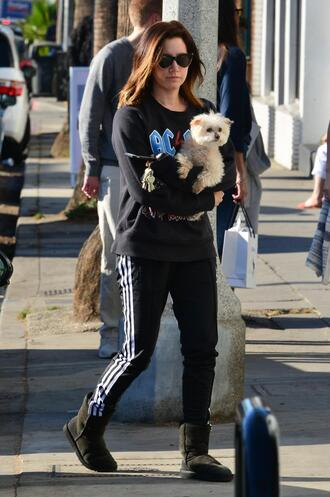 pants sweatpants sweatshirt ashley tisdale streetstyle sweater fall outfits