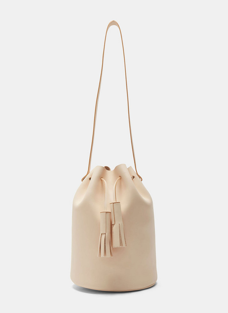 Building Block Leather Bucket Bag in Nude size One Size in natural