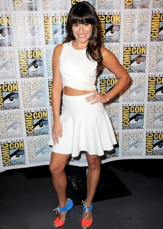 skirt top skater skirt sandals comic con lea michele flare skirt white summer outfits shoes