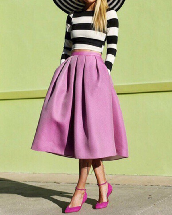 skirt pink dress pink skirt top blouse style striped dress stripes preppy pleated skirt fashion elegant teenagers fall outfits midi skirt