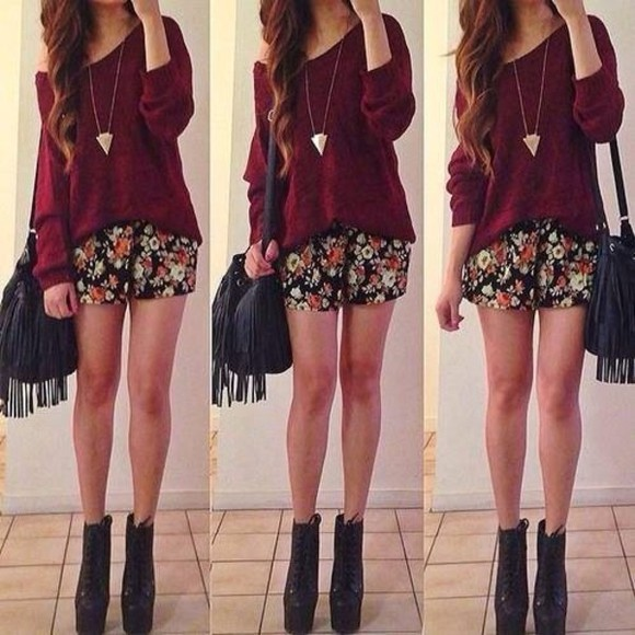 sweater red sweater knitted sweater red knitted sweater tassel bag flowery shorts shorts jewels