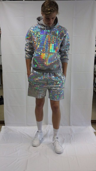 sparkle glitter silver sweater mirror