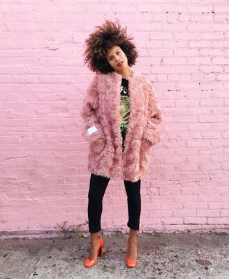 coat tumblr fur coat pink fur coat pink coat pants black pants shoes pumps fall outfits