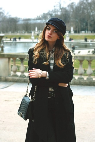la georgienne blogger belt fisherman cap gingham black coat