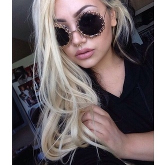 sunglasses grunge rad lace black and gold retro 70s style grunge sunglasses retro sunglasses retro round sunglasses septum piercing