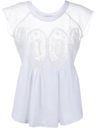 top women white cotton crochet