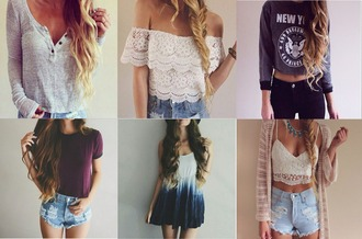 shirt clothes cath belle blogger instagram ombre new york lace t-shirt shorts denim dress fishtail hair cardigan fashion style top sweater summer winter outfits