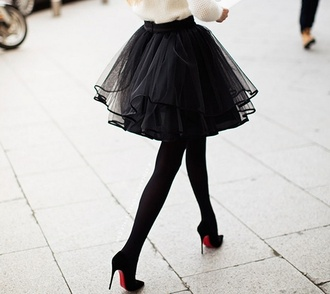 skirt black tulle skirt tutu sheer layered lined streetstyle girly beautiful pretty tights shoes