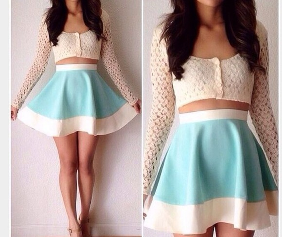 tank top skirt white lace top crop tops mint skirt
