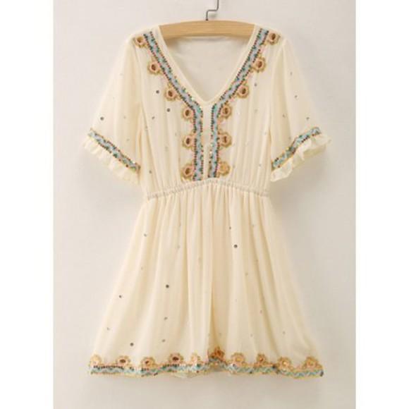 ethnic boho boho chic boho dress cream dress cute dress embroidered girly