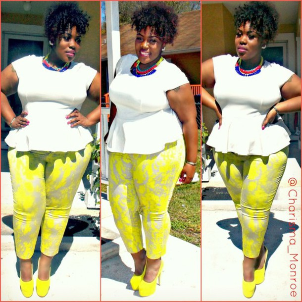 yellow printed pants curvy plus size pants romper blouse