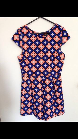 pattern geometric romper orange print