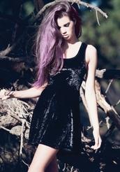 dress,velvet dress,black dress,little black dress,black velvet,black velvet dress,tumblr outfit,grunge,grunge dress,grunge wishlist,alternative,on point,on point clothing,purple hair,style,pastel hair