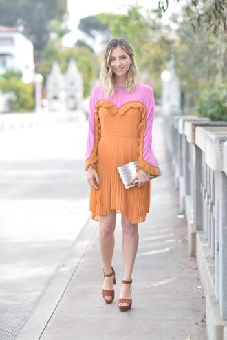cupcakes and cashmere blogger dress bag shoes spring outfits orange dress sandals clutch