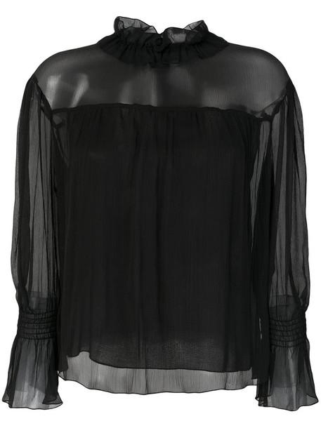 See by Chloe blouse sheer high women high neck cotton black silk top