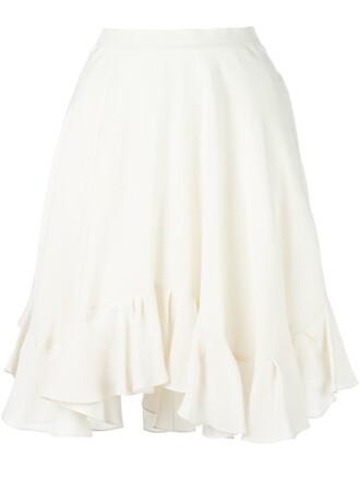 skirt ruffle women nude silk