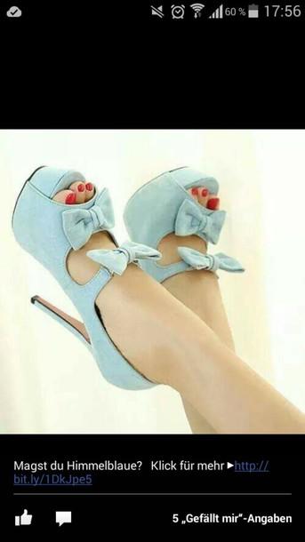 shoes blue high heels