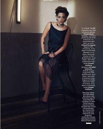 skirt top dress editorial black dress kristen stewart shoes pumps
