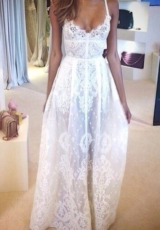 white lace dress lace dress beach wedding dress white dress long prom dress prom dress homecoming dress wedding clothes dress