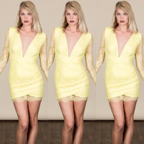 dress yellow lace mini dress