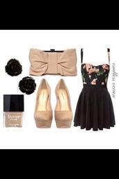 dress,clothes,nail polish,shoes,bag,cute bowie clutch,butter foundation,nude colour heels,black roses