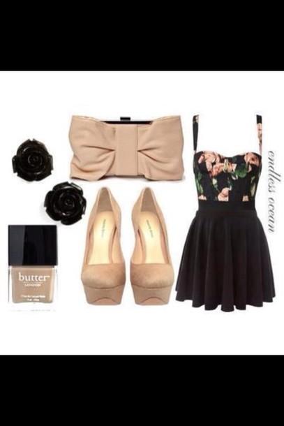 dress, clothes, nail polish, shoes, bag, cute bowie clutch, butter ...