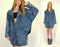 Vintage 80s acid wash denim oversized slouch fit blue jean dolman batwing sleeve grunge retro hipster jacket coat stefano biker large xl 1x