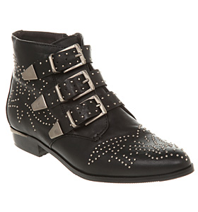 Office manic stud strap boot black leather shoes