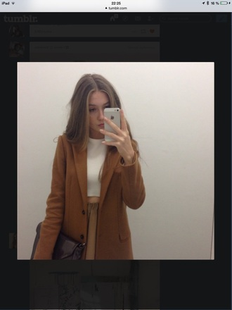 coat winte cute beautiful girl iphone blond orange crop need this