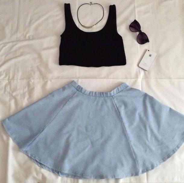 shirt crop tops skirt
