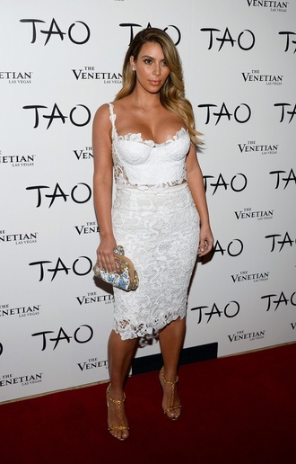 dress white kim kardashian lace bralette midi skirt
