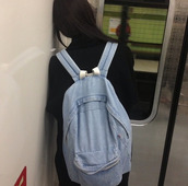 bag,backpack,denim backpack,denim,light blue denim,chill,indie,hippie,school bag,jeans,eastpak,blue,denim bag