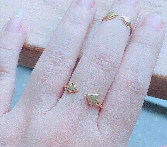 Dainty Gold Ring - Triangle Gold Ring - Open Triangle Ring - Minimal Ring - Silver Jewelry - Gift Ideas