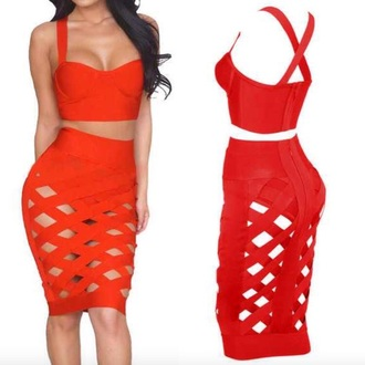 dress style red red dress high waisted criss cross see through see through dress top skirt